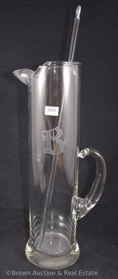"""Crystal 13""""h cocktail tankard with stir stick, etched """"B"""""""