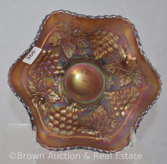 """Carnival Glass Grape and Cable 6""""d berry bowl, amethyst"""