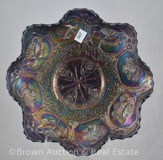 "Carnival Glass Dragon and Lotus 8.5""d bowl, cobalt"