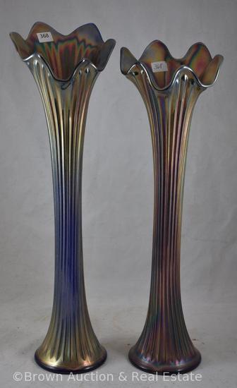 "(2) Carnival Glass Fine Rib vases, 17"" x 16"", both cobalt"
