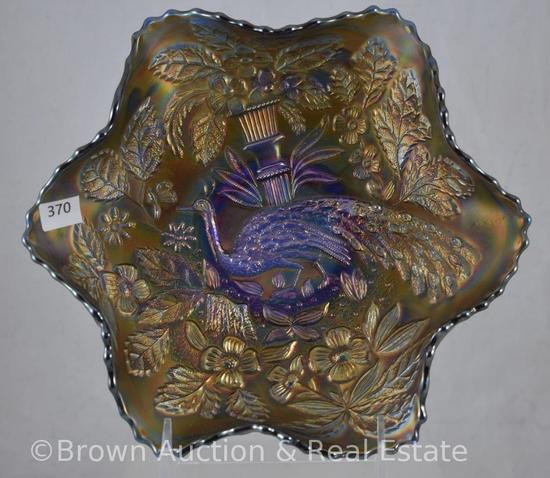 """Carnival Glass Peacock and Urn 9""""d bowl, cobalt"""