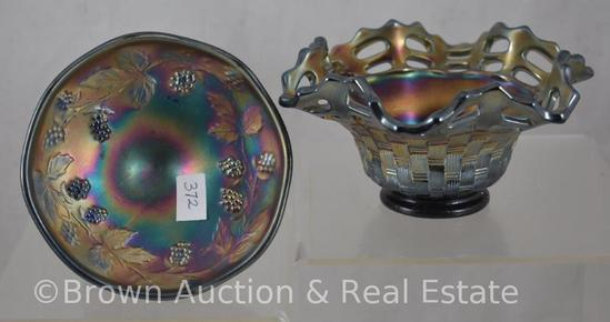 (2) Carnival Glass cobalt pieces: Open Edge basket and Miniature Blackberry compote (base damage)