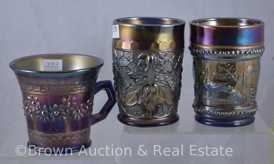 (3) Carnival Glass cobalt pieces: 2-tumblers, Peacock at the Fountain and Maple Leaf; 1-Orange Tree