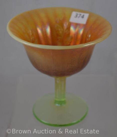 "Carnival Glass Holly 4""h sherbet compote, lime green opalescent - Rare color!"
