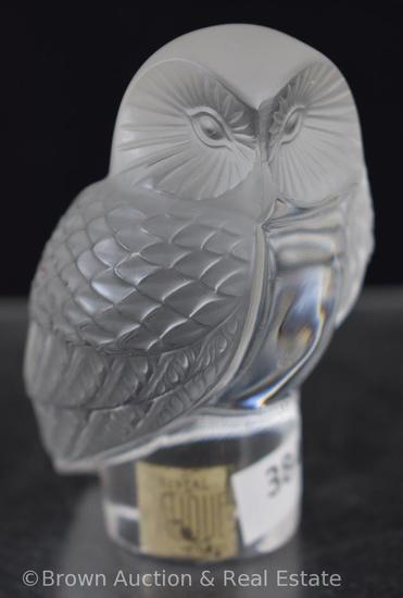 "Signed Lalique France 3.5""h Owl figurine"