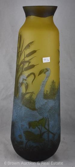 "Contemporary Galle Cameo glass 17""h vase decorated with cattails and flamingos, signed ""Tip"""