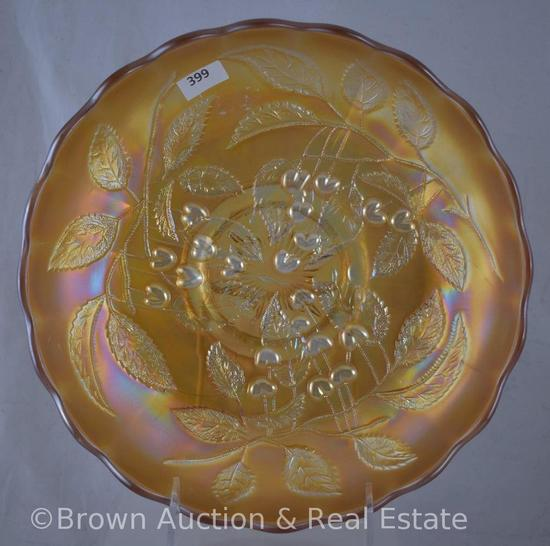 "Carnival Glass Cherry (Millersburg) 10""d ice cream shape bowl, marigold"
