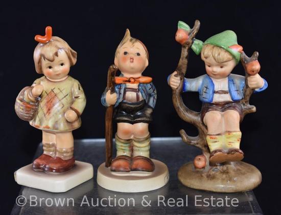 "(3) Hummel figurines, 4"" tall, various marks"