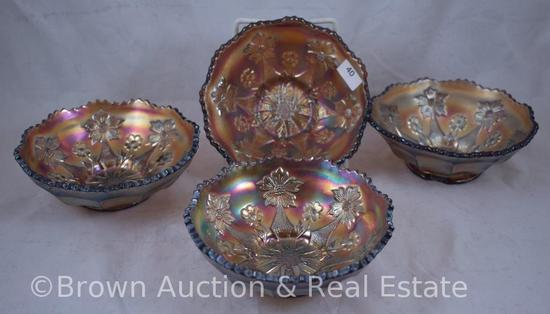 "(4) Carnival Glass Little Flowers berry bowls, 5.25""d, amethyst"
