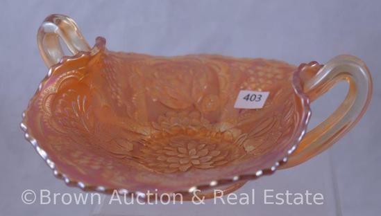 Carnival Glass Lotus and Grape dbl. handled bon bon, marigold
