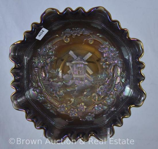 "Carnival Glass Windmill 8""d bowl, clambroth"