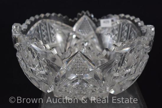 "Cut Glass 8""d deep bowl decorated with Hobstars and Ingatlio motifs"