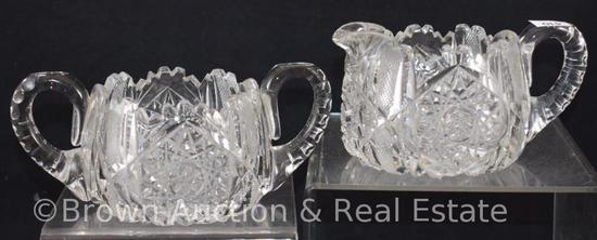 "Cut Glass 2.5""h creamer and sugar, Hobstars and bars of stippled diamond designs"