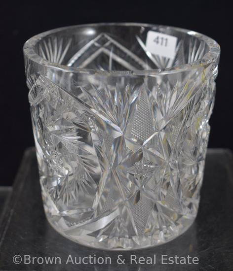 "Cut Glass 4""h spooner? miniature ice bucket?, Pinwheels/Strawberry diamond fields/Fans"