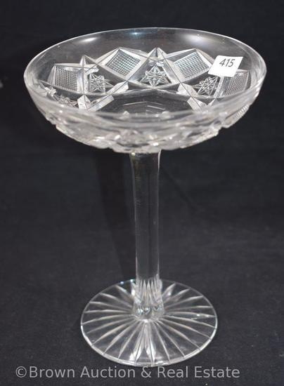 "Cut Glass dainty 6.5""h compote, Hobstars and Strawberry diamond fields"
