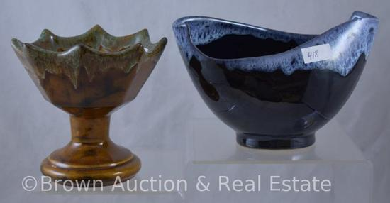 "(2) Anna Van Briggle pieces - 4.5""h stem bowl, brown and cobalt free form bowl"