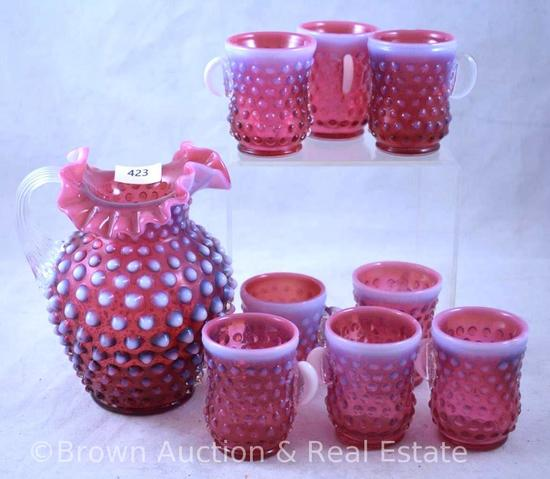 """Fenton Cranberry opalescent Hobnail 5.5""""h pitcher and (8) 2.5""""h handled mugs"""