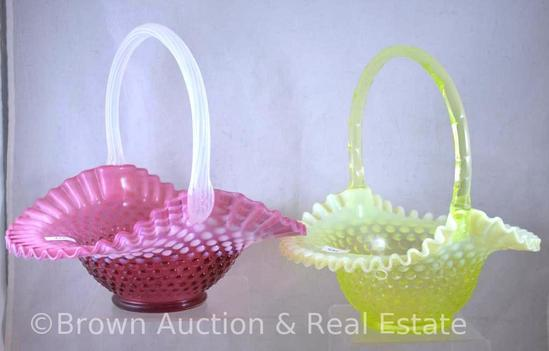 (2) Large Fenton Hobnail baskets - cranberry opalescent and topaz opalescent