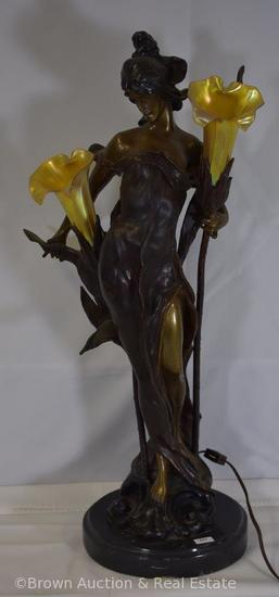 """Figural bronze lamp of maiden holding 2 illuminating flowers with translucent shades, 27"""" tall,"""
