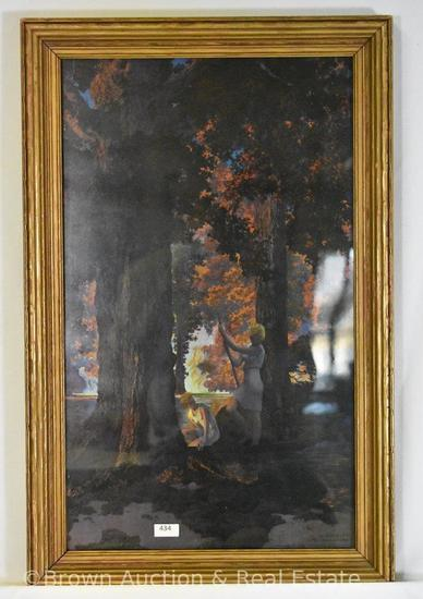 "Maxfield Parrish print - Golden Hours, framed size 22.5""h x 14.5""w"