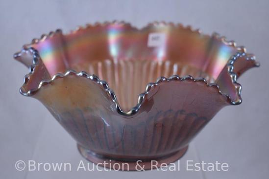 "Carnival Glass Stippled Rays 8.5""d deep bowl, amethyst"