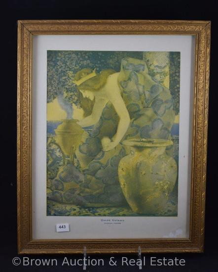 "Maxfield Parrish print - Queen Gulnare, framed size 12.5""w x 16""h"