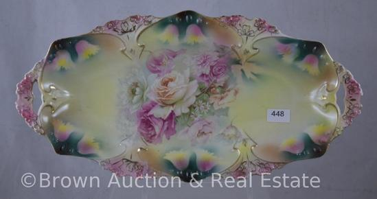 """R.S. Prussia Mold 82 relish tray, 12""""l x 6.25""""w, floral design, red mark"""