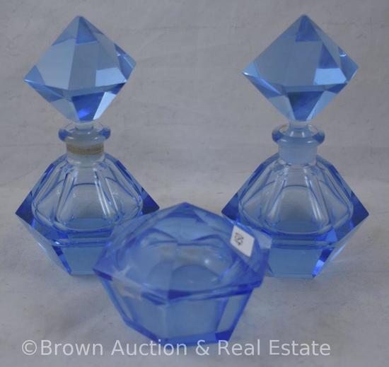 3 pc. Blue glass vanity set inc. cov. Trinket box and 2-perfume bottles