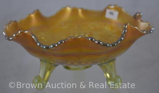 "Carnival Glass Grape and Cable 4""h x 8""d bowl with ball and claw feet, pale green with butterscotch"