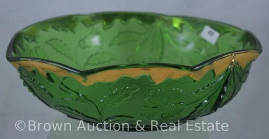 """EAPG Delaware 9""""d x 3""""h bowl, green with gold"""