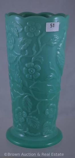 "Fenton #791 peacock vase, 8""h, sage mist"