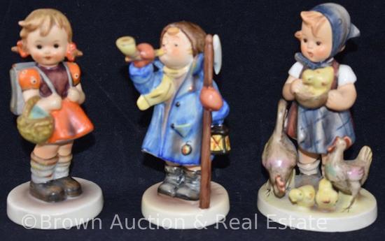 "(3) Hummel figurines, 4.5"" tall, various marks"