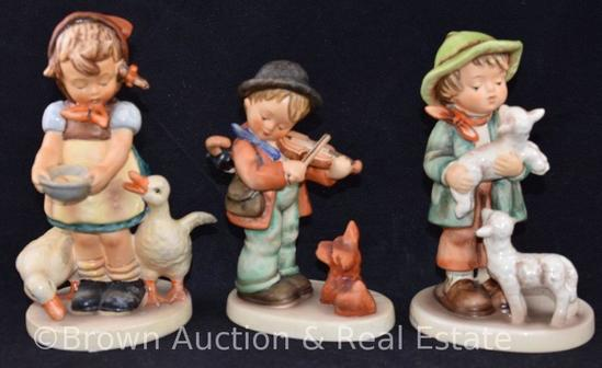 "(3) Hummel figurines, 5""-6"" tall, various marks (""Puppy Love"" has underside chip)"