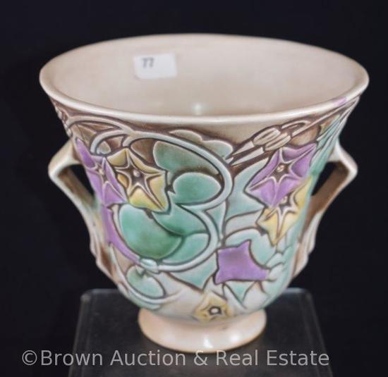 """Roseville Morning Glory 723-5"""" vase, white"""