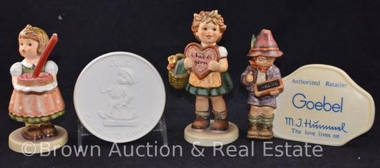"(4) Hummel Collector's Club items: (2) 6"" figurines, 1983 & 1972; Retailer's figurine/plaque, 1984;"