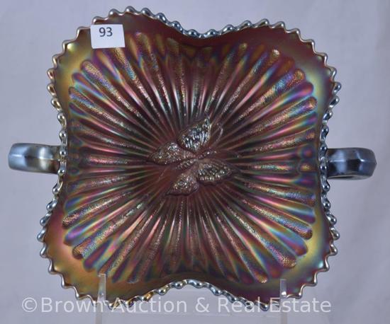 Carnival Glass Butterfly dbl. handled bon bon, fiery amethyst