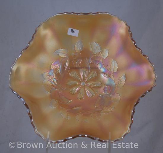 "Carnival Glass Cosmos Vt. 9.5""d bowl, marigold"