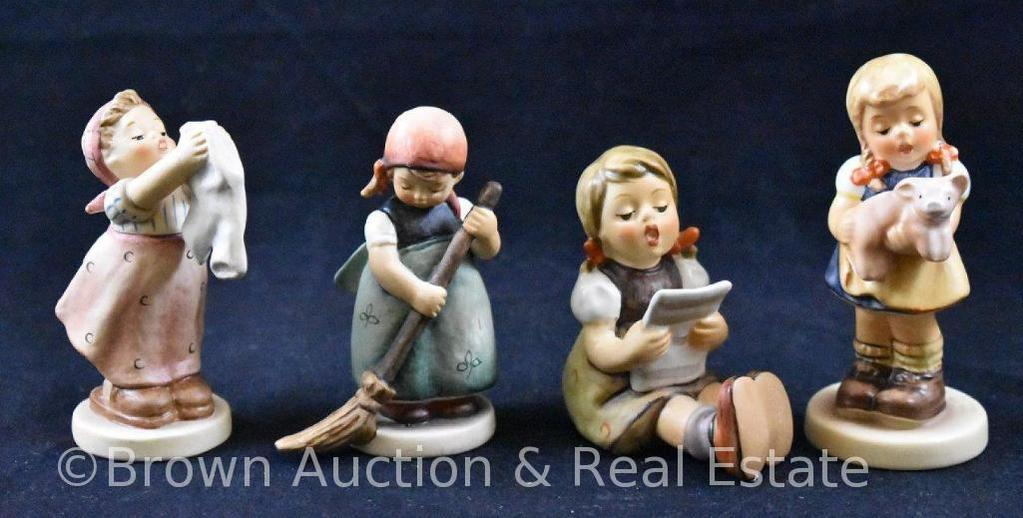 """(4) Hummel figurines, 2.5""""-3.5"""" tall, various 80's and 90's marks"""