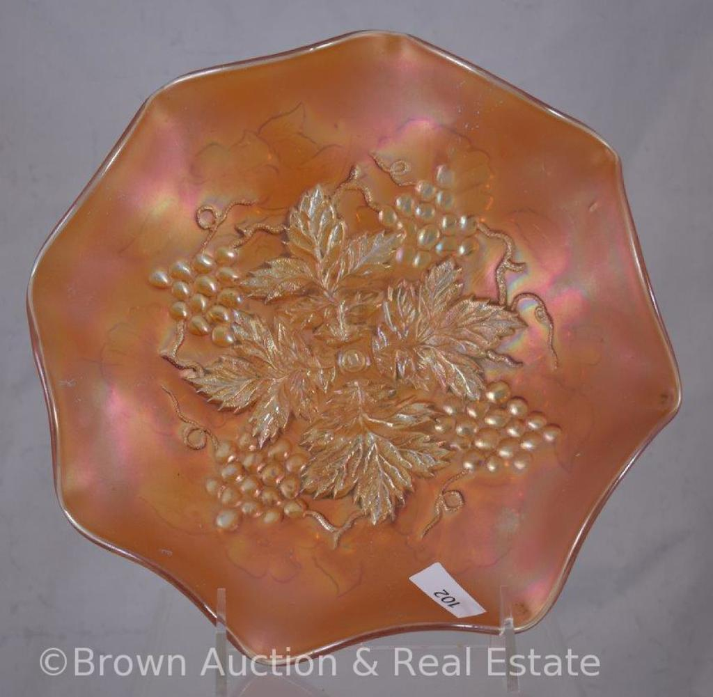 "Carnival Glass Grape Leaves/Wild Rose 9""d bowl, marigold"