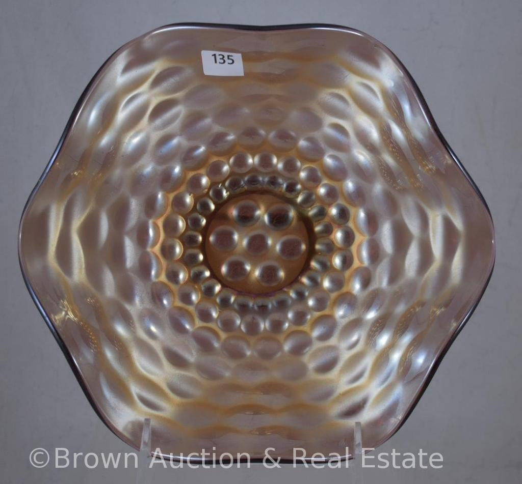 "Carnival Glass Pebbles 8.25""d bowl, lt. purple"