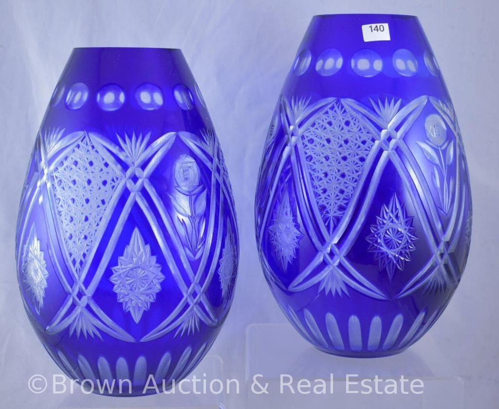 "Pr. Cobalt-cut-to-clear 9.75""h vases"