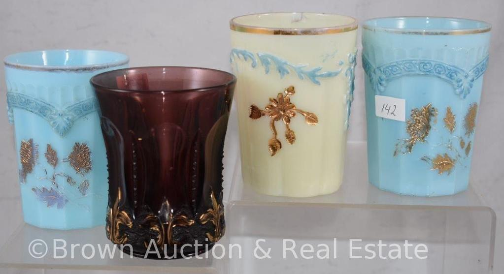 (4) Assorted tumblers - Custard and EAPG (damage to most)
