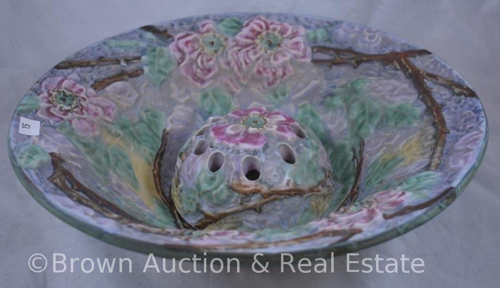 """Weller Silvertone 12""""d console bowl and flower frog"""