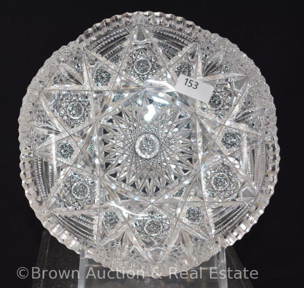 """Cut Glass 7""""d low bowl, busy pattern of Hobstars"""