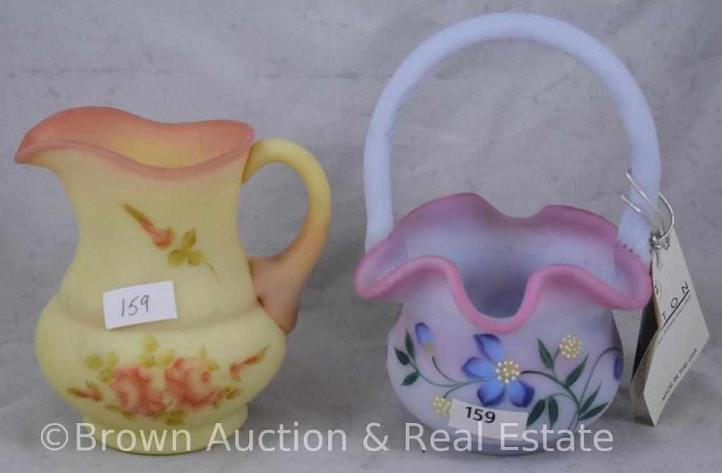 (2) Fenton hand decorated pieces - basket and pitcher