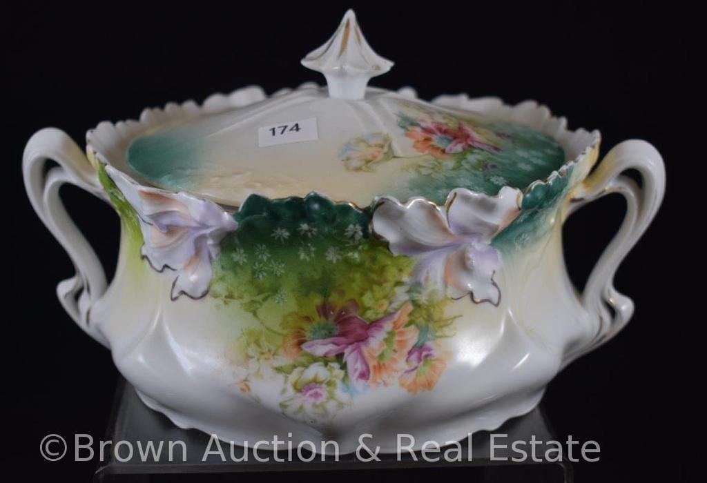 Mrkd. R.S. Germany biscuit/cracker jar, Mixed florals with floral border mold