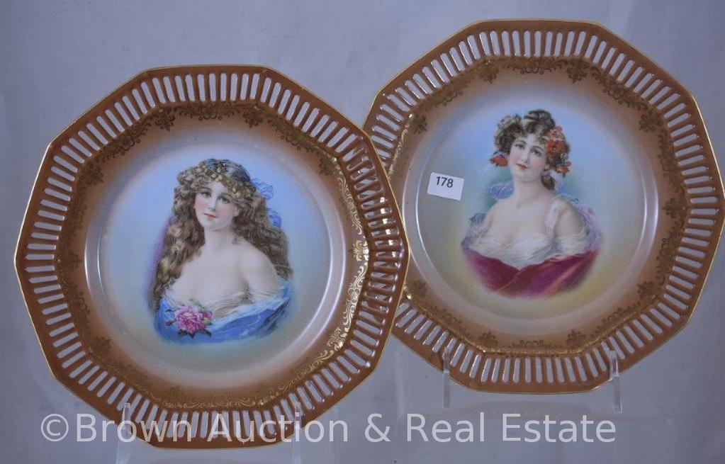 "Pr. Mrkd. Schumann Germany 8.5""d portrait plates"