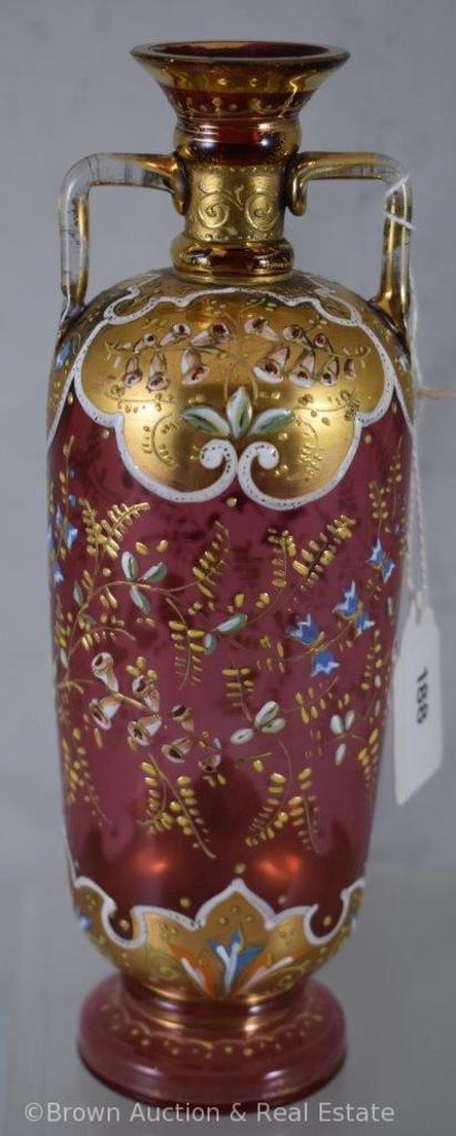 "Enameled decorated Cranberry 7.5""h vase (Moser-style)"