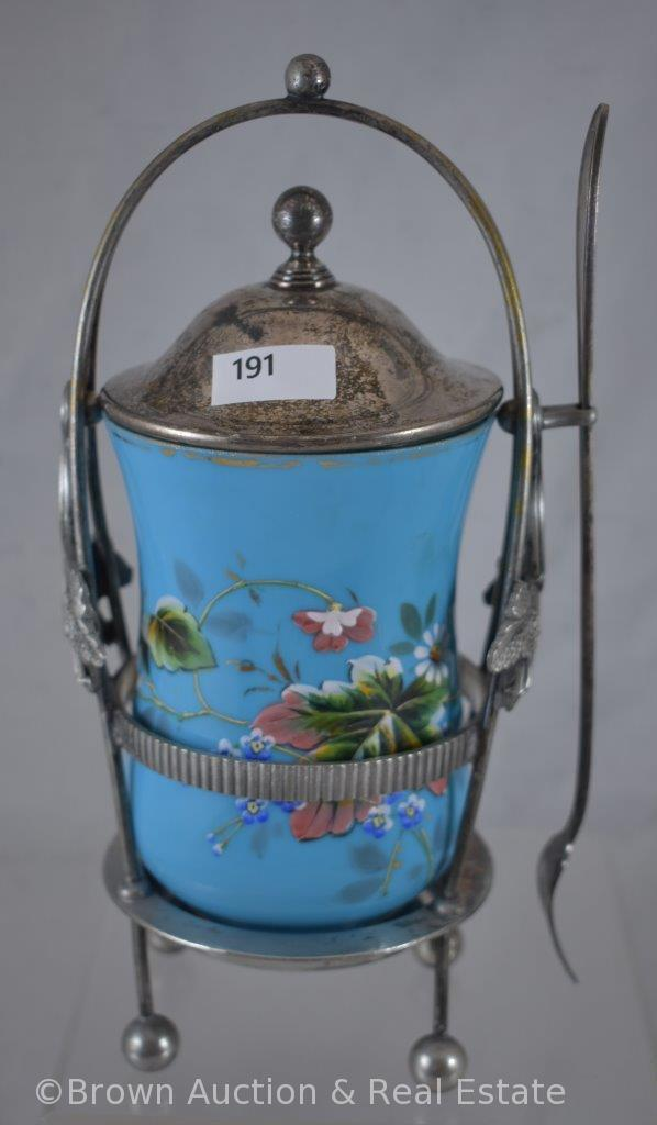 Reed and Barton Victorian Pickle Castor, blue handpainted Cased glass insert