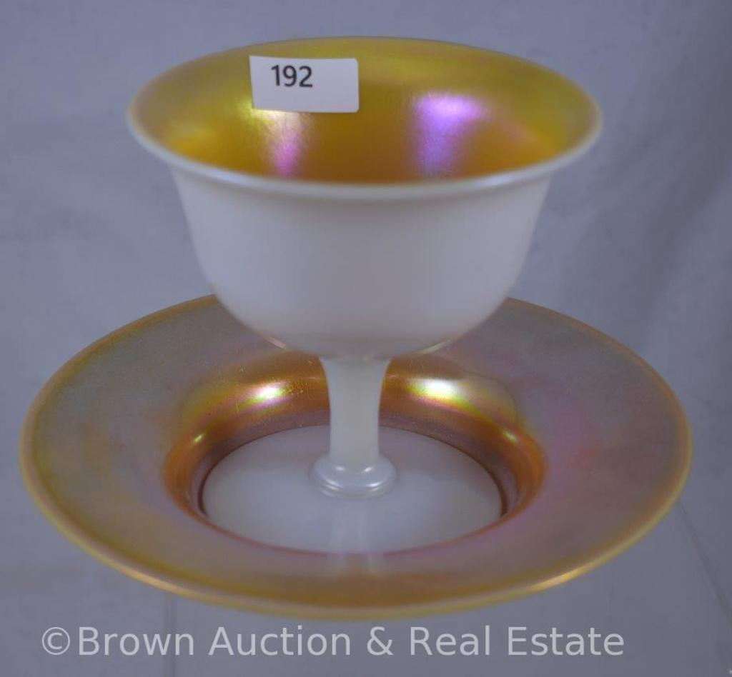 Steuben Aurene white calcite sherbet compote with underplate dish